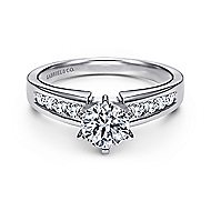 Rooney 14k White Gold Round Straight Engagement Ring angle 1