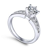 Rooney 14k White Gold Round Straight Engagement Ring angle 3