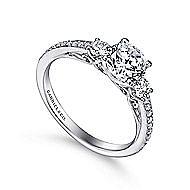 Rory 14k White Gold Round 3 Stones Engagement Ring angle 3