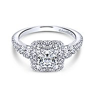 Rosalinda 14k White Gold Princess Cut Halo Engagement Ring angle 1