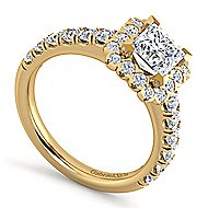 Rosalyn 14k Yellow Gold Princess Cut Halo Engagement Ring angle 3
