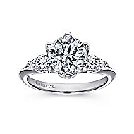 Rosario 18k White Gold Round 3 Stones Engagement Ring angle 5