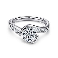 Roshana 14k White Gold Round Bypass Engagement Ring angle 1