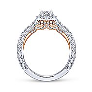 Rosy 14k White And Rose Gold Round Halo Engagement Ring angle 2