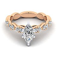 Rowan 14k White And Rose Gold Marquise  Straight Engagement Ring angle 1
