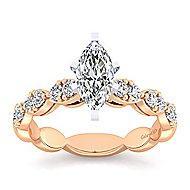 Rowan 14k White And Rose Gold Marquise  Straight Engagement Ring angle 5