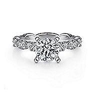 Rowan 14k White Gold Round Straight Engagement Ring angle 1