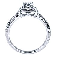 Royal 14k White Gold Round Halo Engagement Ring angle 2