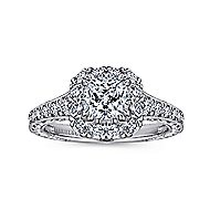Samantha 14k White And Rose Gold Cushion Cut Halo Engagement Ring angle 5