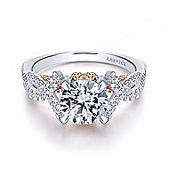 Samara 18k White And Rose Gold Round Twisted Engagement Ring angle 1