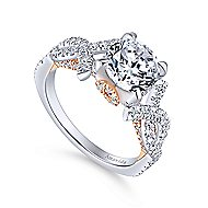 Samara 18k White And Rose Gold Round Twisted Engagement Ring angle 3