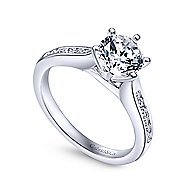 Samira 14k White Gold Round Straight Engagement Ring angle 3