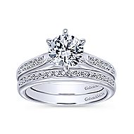Samira 14k White Gold Round Straight Engagement Ring angle 4