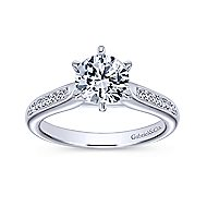 Samira 14k White Gold Round Straight Engagement Ring angle 5