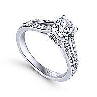 Saoirse 14k White Gold Round Split Shank Engagement Ring angle 3