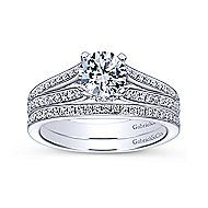 Saoirse 14k White Gold Round Split Shank Engagement Ring angle 4
