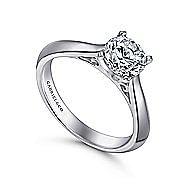 Sasha 14k White Gold Round Solitaire Engagement Ring angle 3