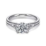 Selah 14k White Gold Round Solitaire Engagement Ring angle 1