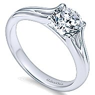 Selah 14k White Gold Round Solitaire Engagement Ring angle 3
