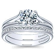 Selah 14k White Gold Round Solitaire Engagement Ring angle 4