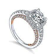 Selena 18k White And Rose Gold Round Halo Engagement Ring angle 3