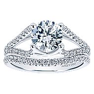 Selma 18k White Gold Round Split Shank Engagement Ring angle 4