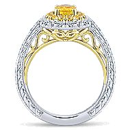 Sena 14k Yellow And White Gold Oval Double Halo Engagement Ring