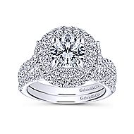 Senna 14k White Gold Round Double Halo Engagement Ring angle 4