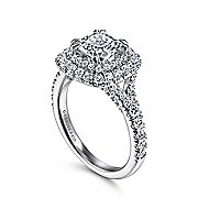 Sequoia 14k White Gold Cushion Cut Double Halo Engagement Ring angle 3