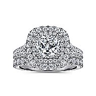 Sequoia 14k White Gold Cushion Cut Double Halo Engagement Ring angle 4