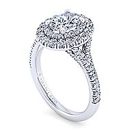 Sequoia 14k White Gold Oval Double Halo Engagement Ring angle 3