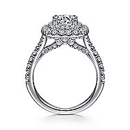 Sequoia 14k White Gold Round Double Halo Engagement Ring angle 2