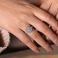 Sequoia 14k White Gold Round Double Halo Engagement Ring angle 6