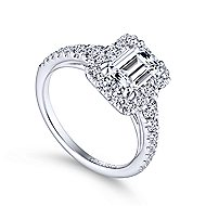 Serena 14k White Gold Emerald Cut Halo Engagement Ring angle 3