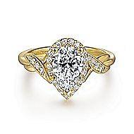 Shae 14k Yellow Gold Pear Shape Halo Engagement Ring angle 1