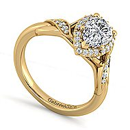 Shae 14k Yellow Gold Pear Shape Halo Engagement Ring angle 3
