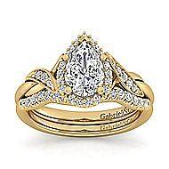 Shae 14k Yellow Gold Pear Shape Halo Engagement Ring angle 4