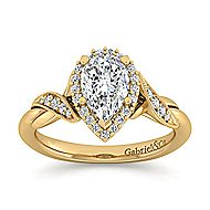 Shae 14k Yellow Gold Pear Shape Halo Engagement Ring angle 5
