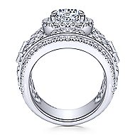 Sharon 18k White Gold Round Halo Engagement Ring angle 2