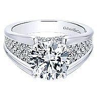 Shauna 18k White Gold Round Straight Engagement Ring angle 1