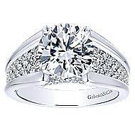 Shauna 18k White Gold Round Straight Engagement Ring angle 5