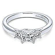 Shay 14k White Gold Princess Cut 3 Stones Engagement Ring angle 1