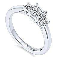 Shay 14k White Gold Princess Cut 3 Stones Engagement Ring angle 3