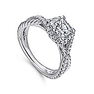 Sheridan 14k White Gold Princess Cut Halo Engagement Ring angle 3