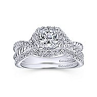 Sheridan 14k White Gold Princess Cut Halo Engagement Ring angle 4