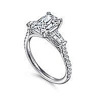 Sheryl 14k White Gold Emerald Cut 3 Stones Engagement Ring angle 3