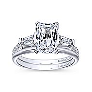 Sheryl 14k White Gold Emerald Cut 3 Stones Engagement Ring angle 4