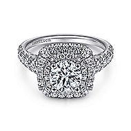 Sheyna 14k White Gold Round Double Halo Engagement Ring angle 1