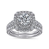 Sheyna 14k White Gold Round Double Halo Engagement Ring angle 4
