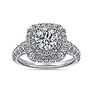 Sheyna 14k White Gold Round Double Halo Engagement Ring angle 5